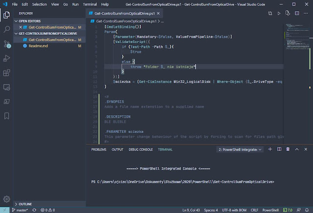 Skrypt Get-ControlSumFromOpticalDrive otworzony w edytorze Visual Studio Code