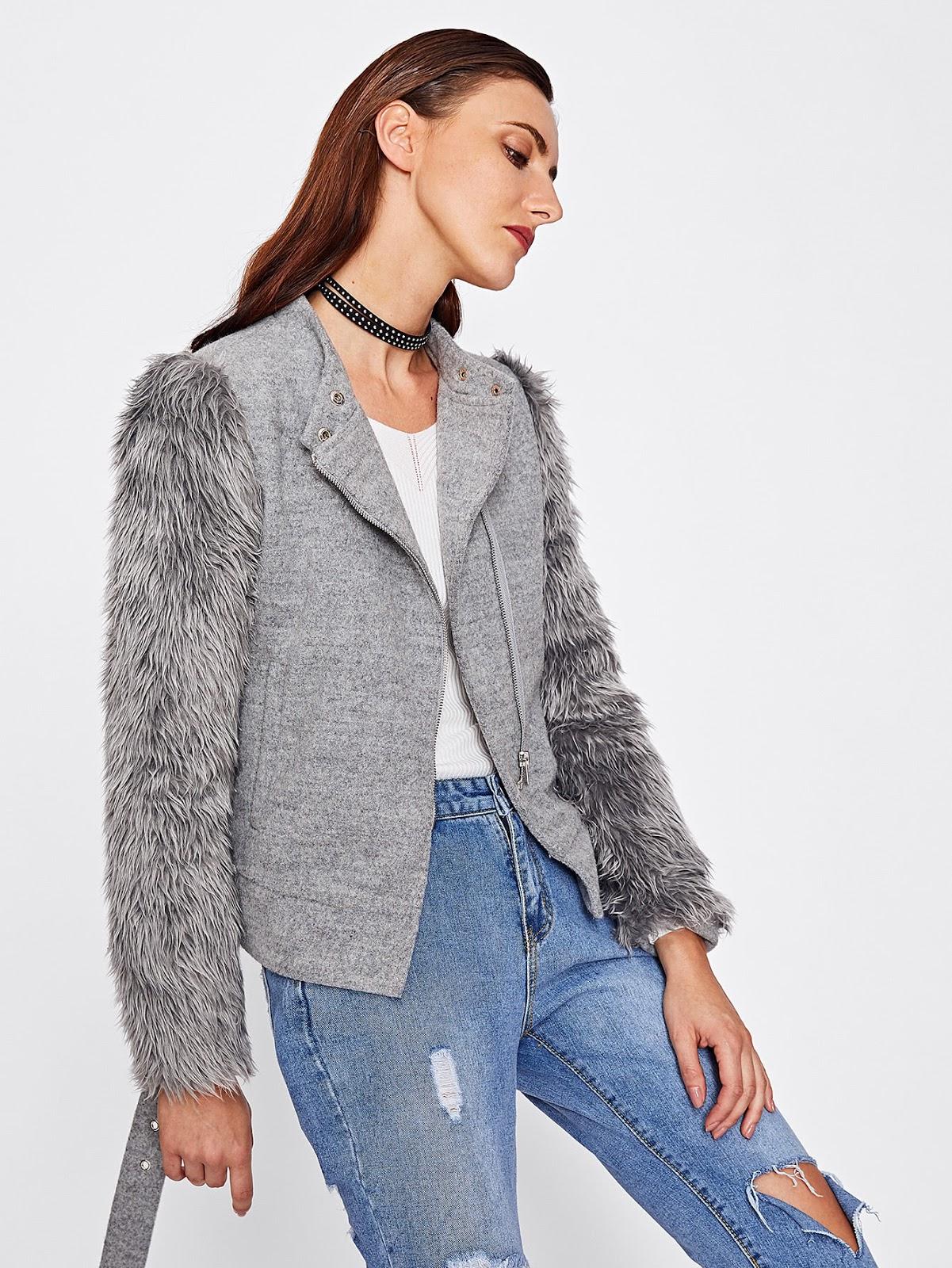 Faux Fur Sleeve Belted Hem Heathered Jacket
