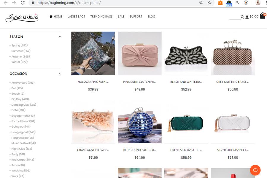 online shopping Baginning, handbag, purse, clear bag, jelly bag, clutch bag, Baginning United Kingdom,