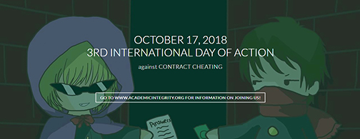 Banner for International Day of Action against Contract Cheating, featuring illustrated images of two young bandits exchanging answers to test in a clandestine alley.
