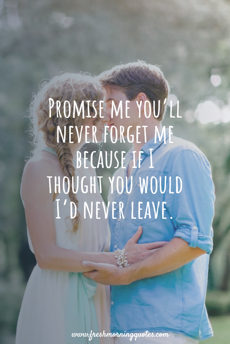 promise me you will never forget me