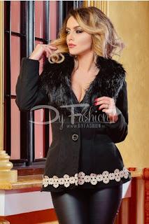 Palton femei scurt cu guler cu blana de iarna negru