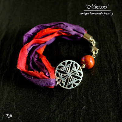 bransoletka z jedwabiu sari, sari silk ribbon bracelet
