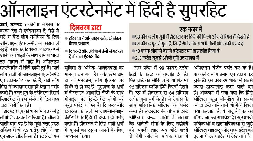 Hindi Top Language on OTT Platform ऑनलाइन मनोरंजन में ही हिंदी सुपरहिट है