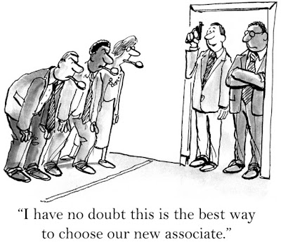 cartoon of a manager selecting the next new associate by putting the candidates through an old-fashioned egg race