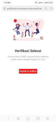 verifikasi email sukses dari aplikasi dent android