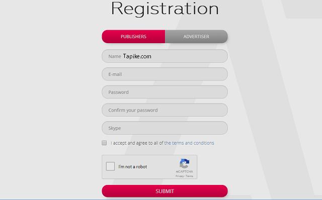 Formulir mendaftar Adnow