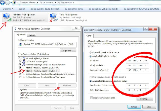 Windows 7 ip ve dns değiştirme