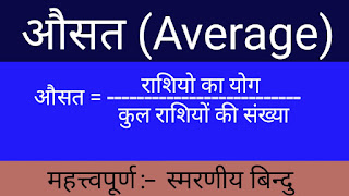 Significant sources of average and memorable points (औसत के महत्त्वपूर्ण सूत्र और स्मरणीय बिन्दु)