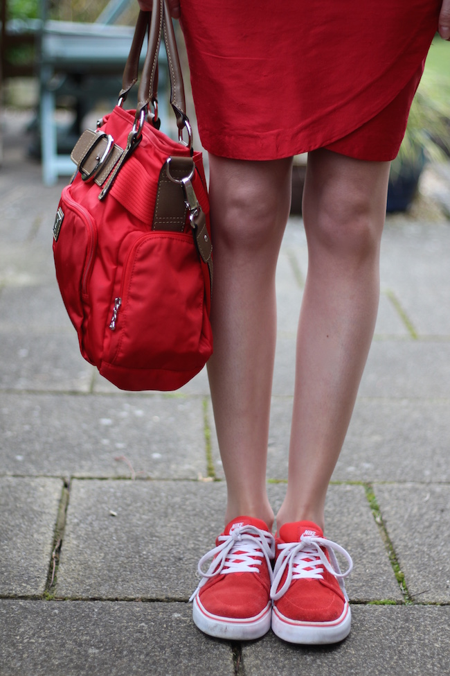 Fake Fabulous | Feeling Rubbish? Red silk skirt, trainers & a T-shirt.