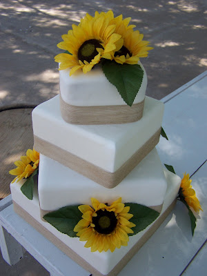 Square Wedding Cake With Sunflowers
