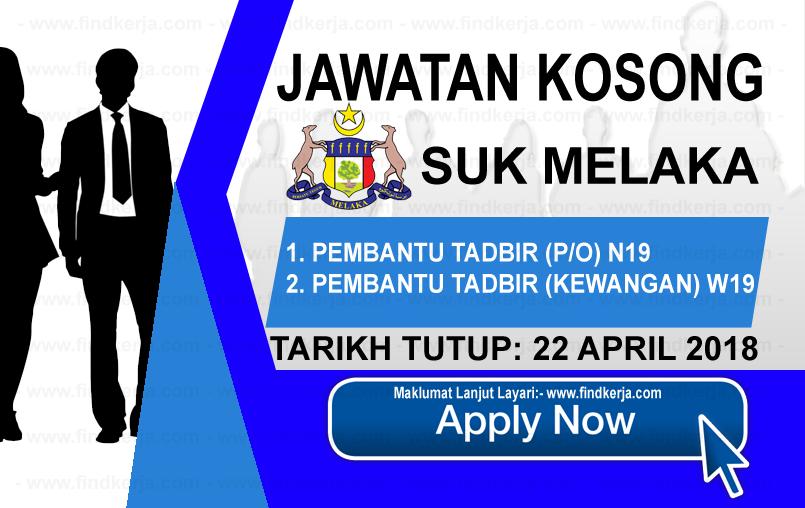 Jawatan Kerja Kosong Pejabat Setiausaha Kerajaan Negeri Melaka logo www.findkerja.com april 2018