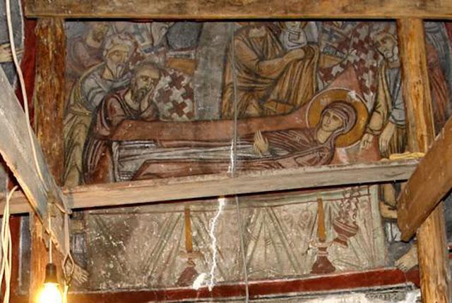 Композицијата Успение на Пресвета Богородица во втората зона на западниот ѕид од наосот - Св. Димитрие -црква од XIV век во село Градешница - Мариово