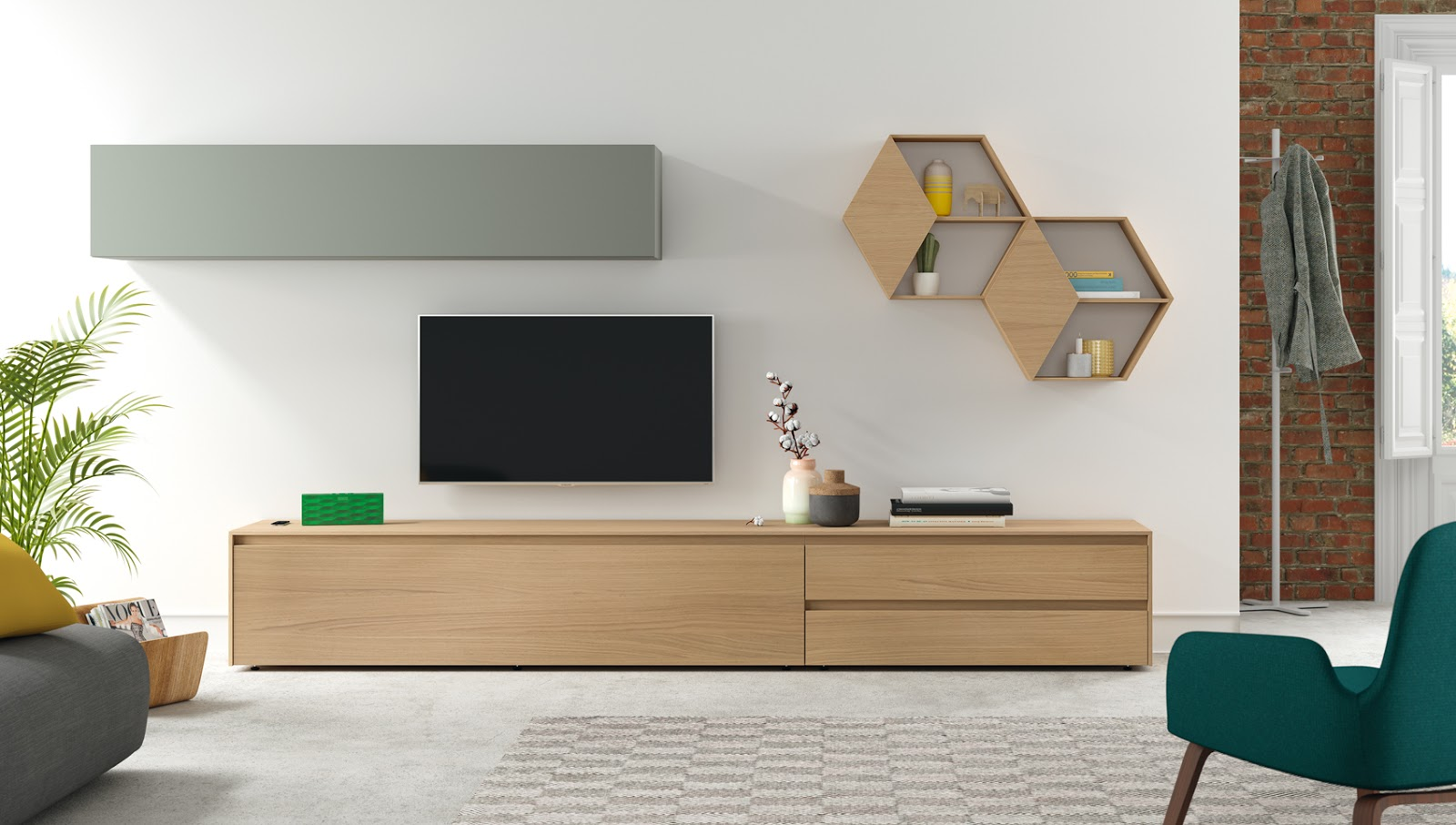 półki nad telewizorem
