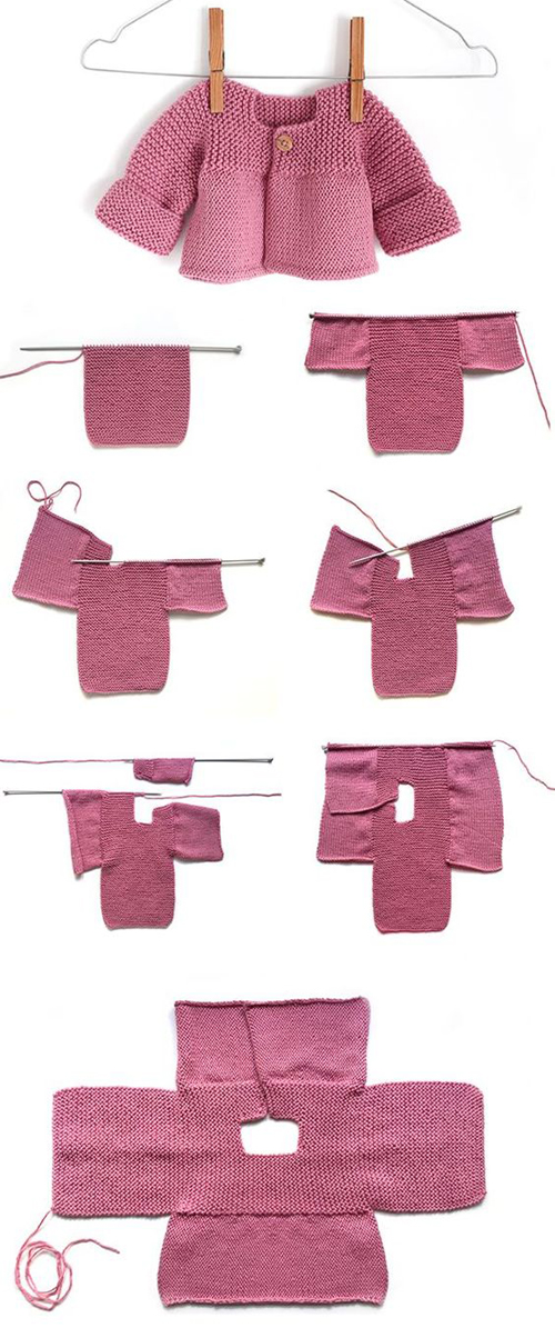 Pink Lady (Knitted Baby Cardigan) - Free Knitting Pattern