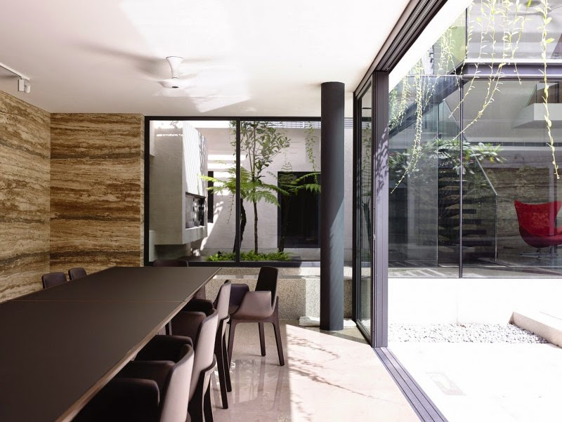 Singapore Contemporary House - interior design - bright landscape and dark meeting / dining set combination