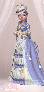 Sissi in an elaborate violet and white striped Victorian gown and hat