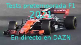 coche F1 con letras tests pretemporada