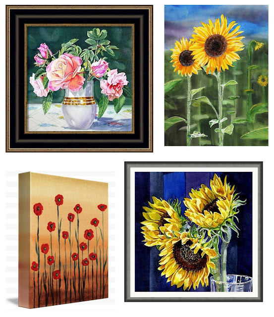 watercolor art with flowers Sunflowers Poppies Roses