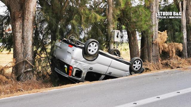 Τροχαίο ατύχημα στο Ναύπλιο - Από θαύμα γλίτωσε ο οδηγός αυτοκινήτου