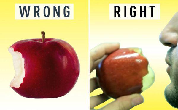 Resultado de imagen para comer una manzana right wrong