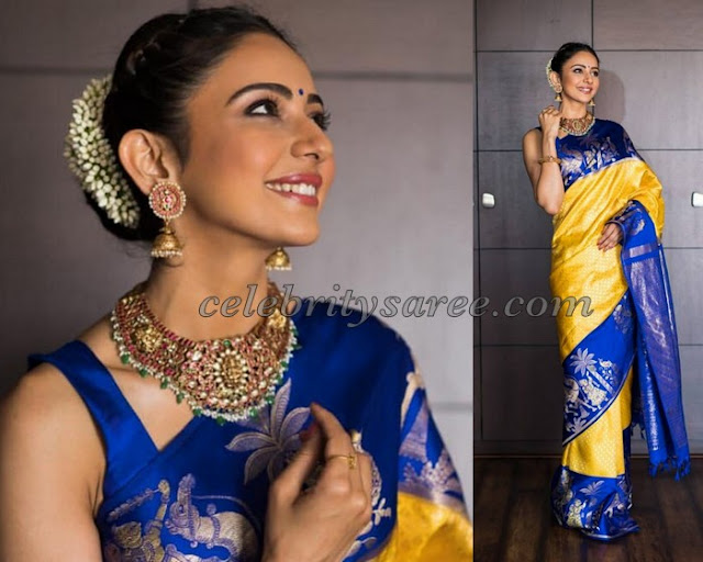 Rakul Preet Singh Yellow Blue Silk Saree