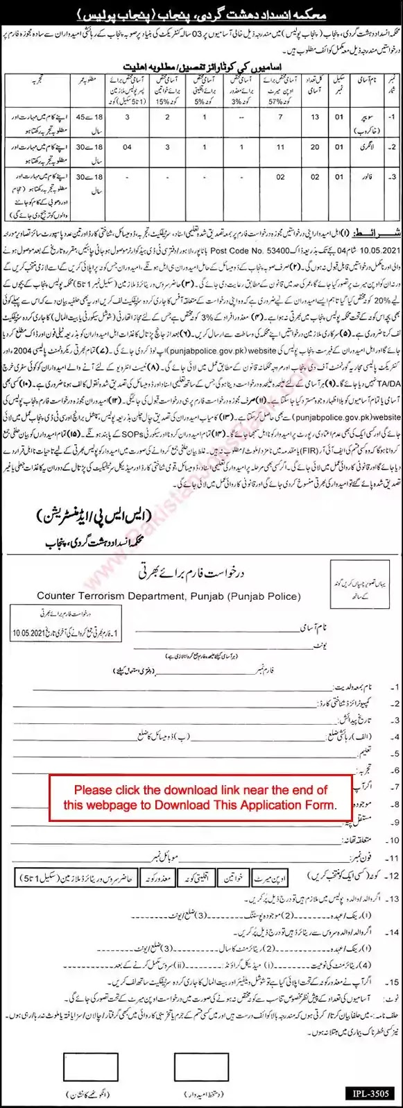 New Jobs in Pakistan Counter Terrorism Department Punjab Jobs 2021 | Download Application Form