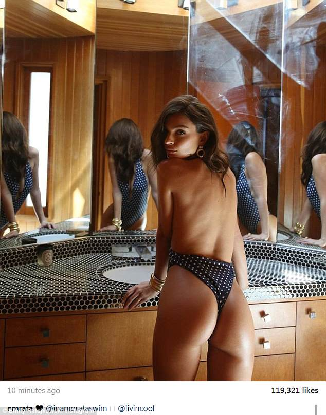 Emily Ratajkowski flaunts her derriere in dotted thong swimsuit