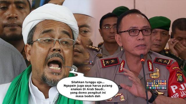 Peringatan Kapolda Metro Jaya Untuk Habib Rizieg Beserta Para Pendukungnya