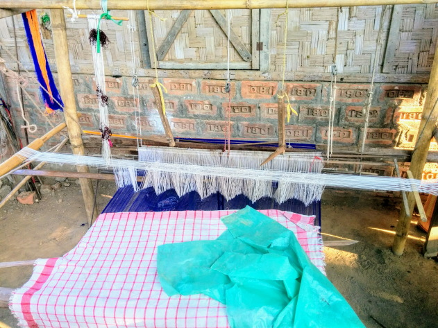 Traditional Loom in the front entrance of all Mishing tribe homes, Assam