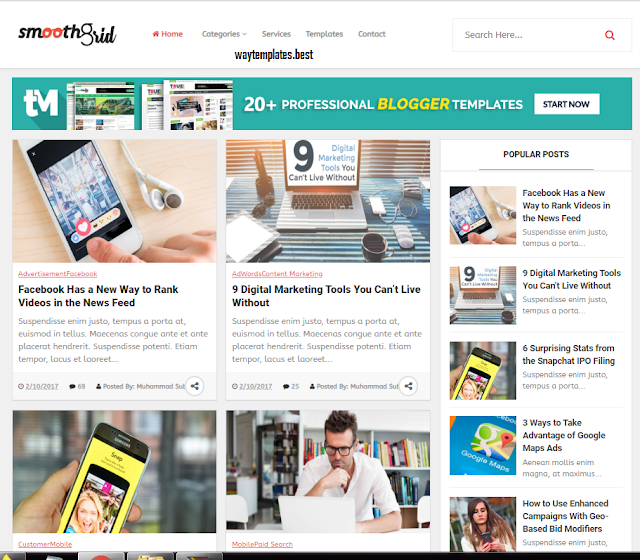 Grid View Smooth Best Blogger Template