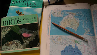 Australia, maps, books, project