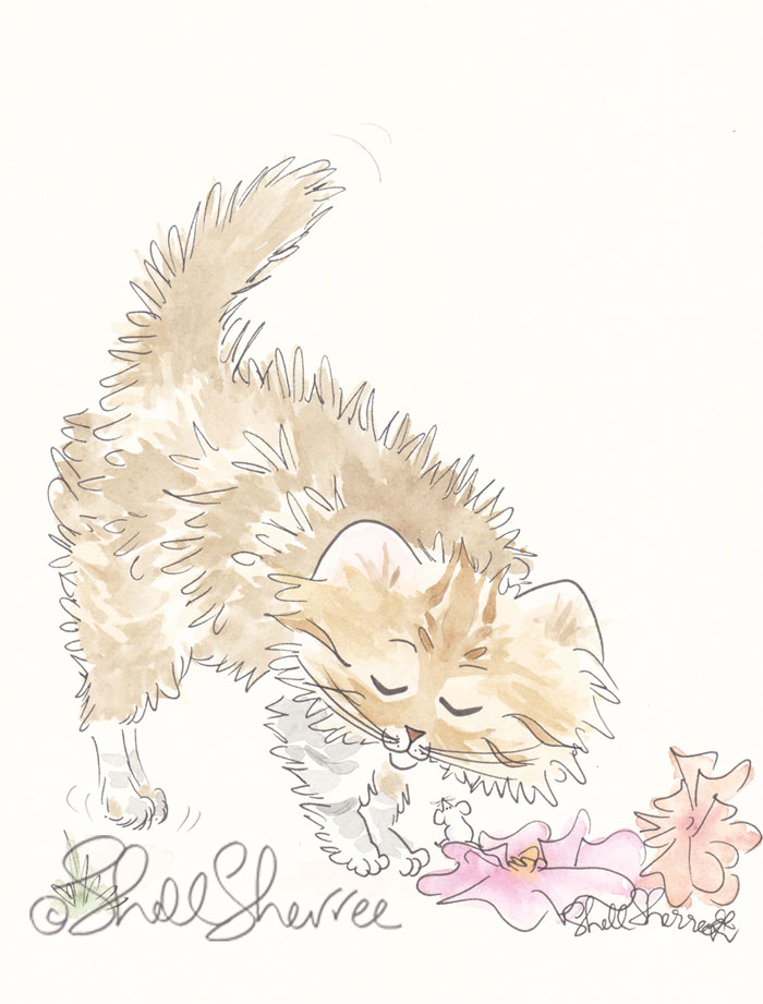 Fluffy Tabby Cat with Flowers and Fur Flying - cat art illustration © Shell Sherree all rights reserved