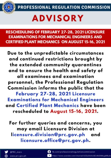 PRC reschedules February 2021 Mechanical Engineer ME, CPM board exam