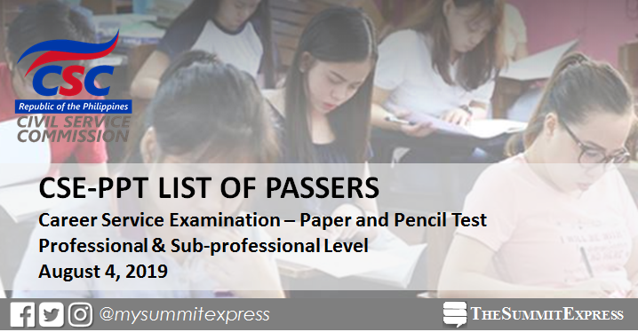 FULL RESULTS: August 4, 2019 Civil Service Exam CSE-PPT list of passers, top 10