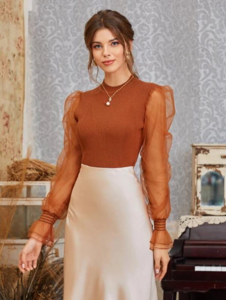 camel brown sheer sleeves sweater