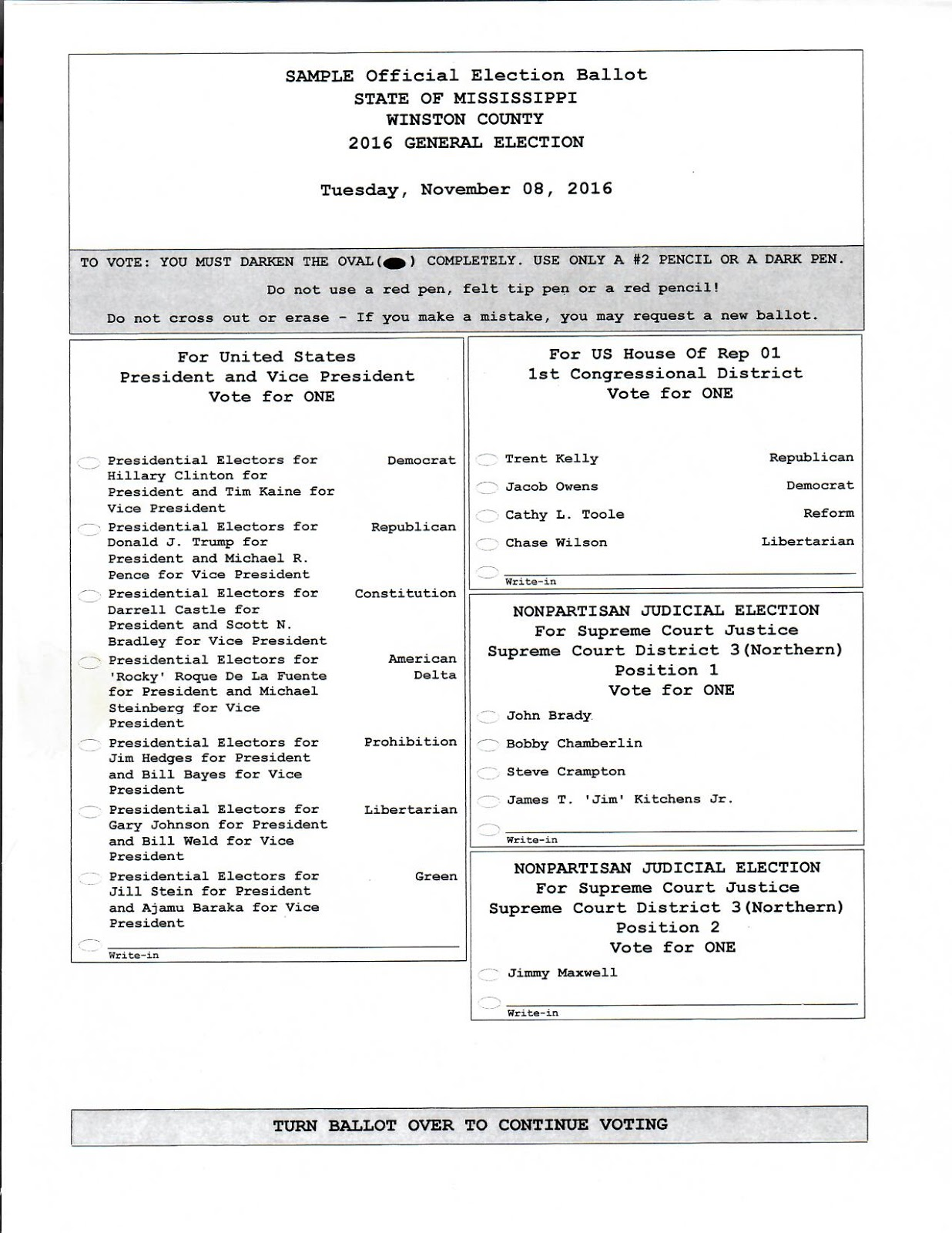 third image of Primary Election Is Tuesday Here Are The Sample Ballots with Winston County Ms: Sample Ballots For General Election