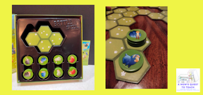 A Mom's Quest to Teach: Building Critical Thinking Skills with Games: A Review of Battle Sheep with inside of game box and game pieces