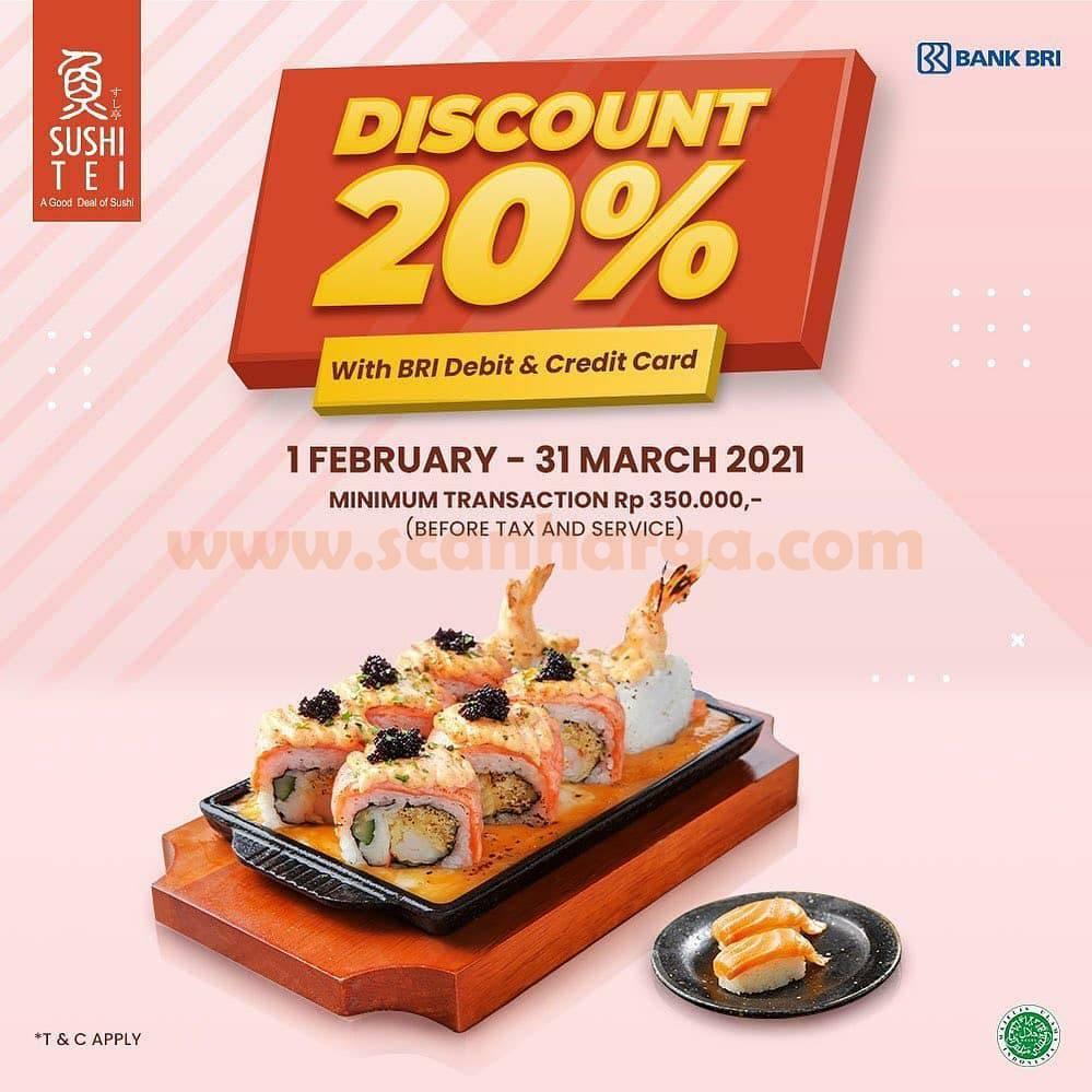Promo SUSHI TEI Diskon 20% dengan Kartu Kredit & Debit BRI