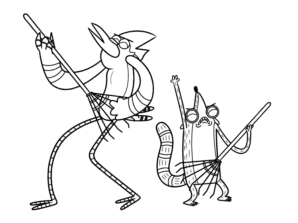Click to see printable version of Mordecai y Rigby Coloring page