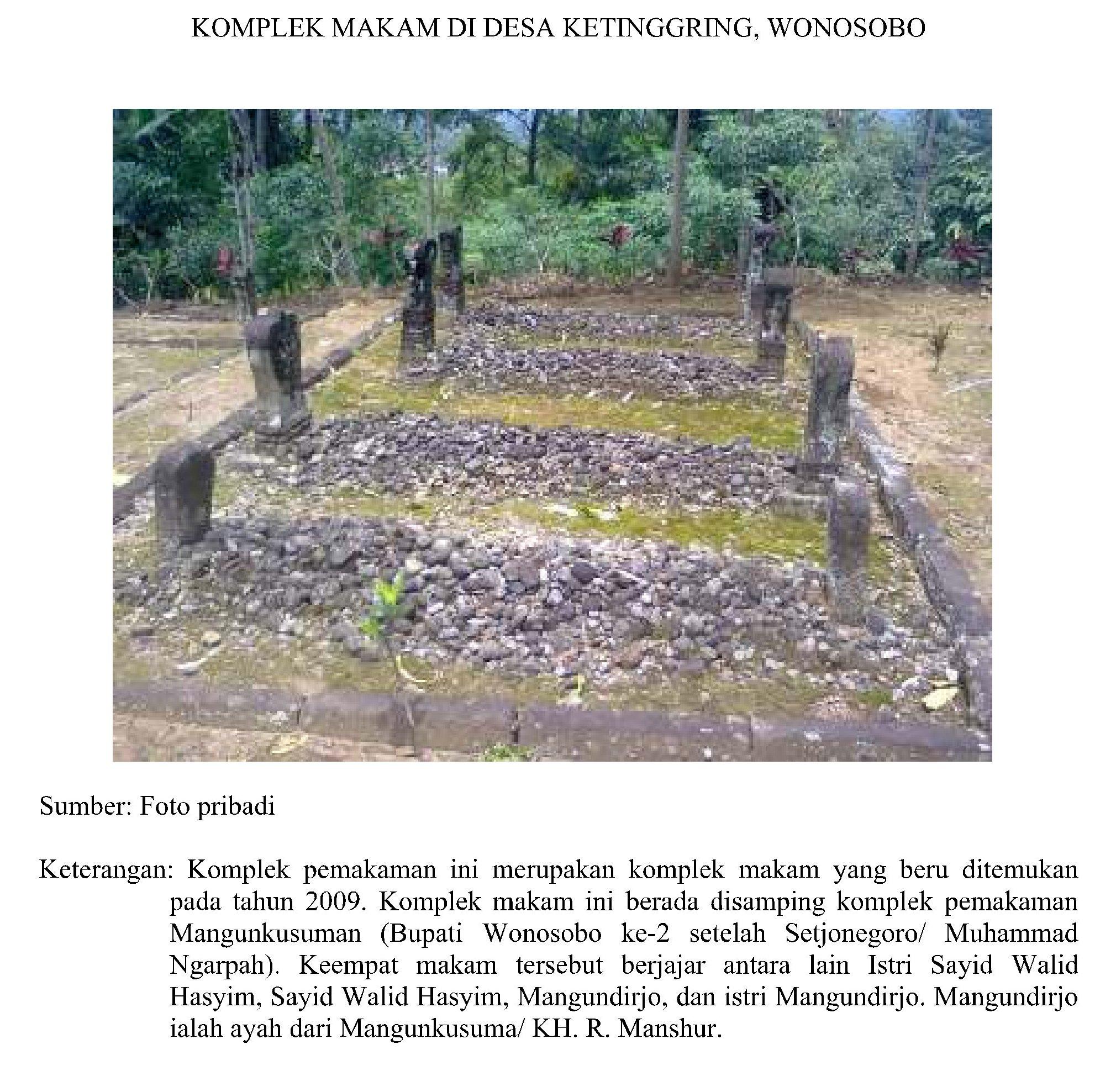 Makam Bupati Wonosobo kedua, Makam Setjonegoro / Muhammad Ngarpah, Istri Sayid Walid Hasyim, Sayyid Walid Hasyim, Mangundirjo, Ayah Mangun Kusuma / KH. R. Mansyur