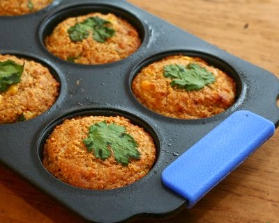 Savory Cornbread Muffins, A cornmeal muffin spiked with chili powder, a little jalapeno and red pepper and very decidedly savory.