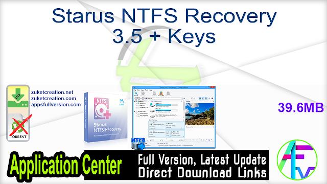 Starus NTFS Recovery 3.5 + Keys