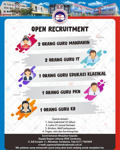 Lowongan Kerja Bulan Oktober 2019 di Sekolah Kristen Kalam Kudus Surakarta