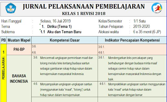 Jurnal Harian K13 Revisi 2018 Kelas 1 Semester 1