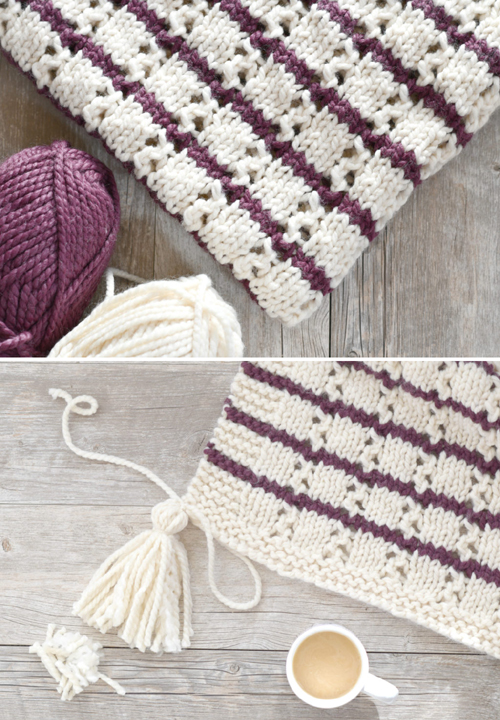 Stripes & Eyelets Urban Easy Blanket - Free Pattern