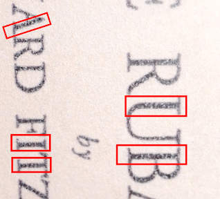 Image of several instances of micro code found in the Boxall copy of the Rubaiyat