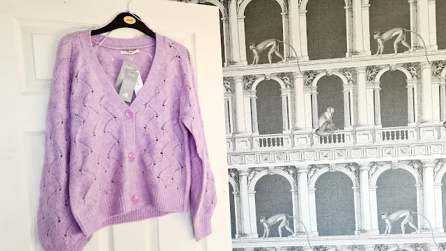 Lilac cropped knitted cardigan George Asda