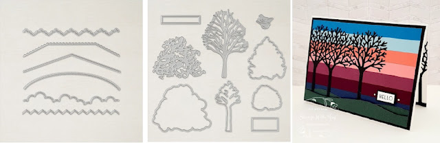 Stampin'Up! Beautiful Trees dies and Basic Border Dies