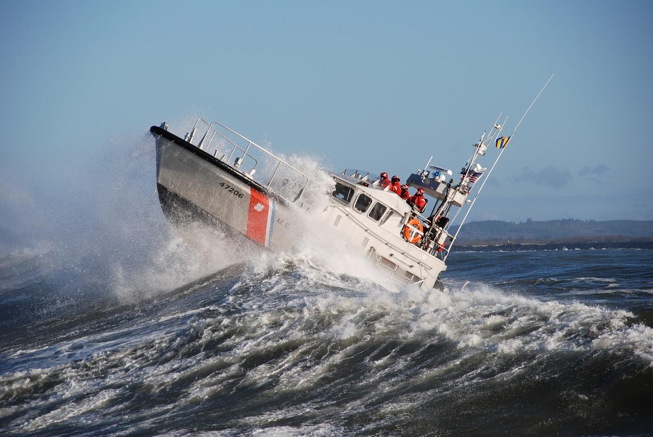 U.S. Coast Guard ship sailing in rough seas for blog post about coast guard war movies